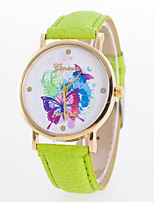 Жен. Модные часы Кварцевый Кожа Группа Повседневная Черный Белый Синий Красный Коричневый Зеленый Желтый