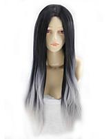 perruque de bande dessinée de mode cos gradient gris noir longue perruque de cheveux raides