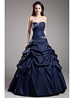 Formal Evening Dress-Dark Navy Ball Gown Strapless Floor-length Taffeta