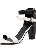 Women's Shoes  Chunky Heel Styles / Open Toe Sandals Party & Evening / Dress / Casual Brown / White
