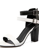 Scarpe Donna-Sandali-Formale / Casual / Serata e festa-Modelli / Aperta-Quadrato-Finta pelle-Marrone / Bianco