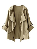 Women's Solid Beige Trench Coat,Street chic Long Sleeve Cotton