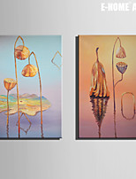 E-HOME® Stretched Canvas Art Withered Lotus Decoration Painting  Set of 2