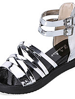 Women's Shoes PU / Patent Leather Flat Heel Mary Jane Sandals Outdoor / Casual Black / Silver / Gray