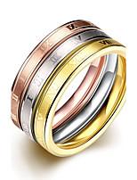 2016 vente chaude noble roman alphabet 3 couleurs de la mode anneau en acier de titane de jeu