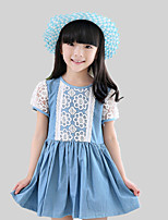 Girl's Casual/Daily Patchwork Dress,Cotton / Polyester Summer / Spring Blue