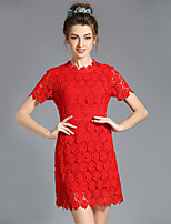 Women's Plus Size Dress Embroidered Lace Hollow Short Sleeve Slim Party/Cocktail/Casual/Daily