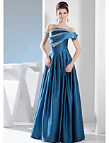 Formal Evening Dress-Ink Blue A-line Bateau Floor-length Stretch Satin