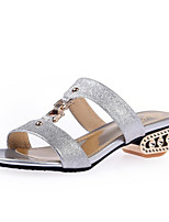 Women's Shoes Glitter Chunky Heel Comfort Sandals Wedding / Party & Evening / Dress / Casual Black / Silver / Gray
