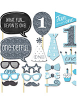 20PCS 1st Birthday Card Paper Photo Booth Props Party Fun Favor
