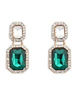 2016 Real Brand Design Fashion Cute Charm Double Square Rhinestone Drop Earrings Fine Jewelry For Women
