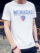 Men's Letter Casual T-Shirt,Cotton / Spandex Short Sleeve-Black / White