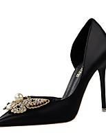 Zapatos de mujer-Tacón Stiletto-Tacones-Tacones-Casual-Semicuero-Negro / Rosa / Rojo / Blanco / Gris