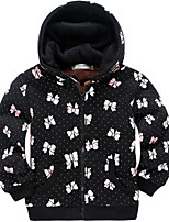 Girl's Black Jacket & Coat,Floral Cotton Winter