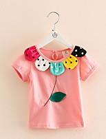 BK 3-6 Y Girl's Ruffle Cotton Cartoon Short Sleeve Summer Tee