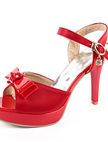 Women's Shoes Stiletto Heel Peep Toe / Platform Sandals Wedding / Party & Evening / Dress Red / Beige
