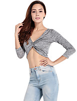 Haoduoyi Women's Deep V Long Sleeve T Shirt Gray-16116H157