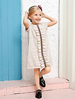 Girl's Beige Dress,Check Cotton Spring