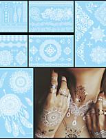 6pcs tatouage imperméable blanc temporaire pour le corps des femmes art du cou lettre de fleurs pâte de bijoux autocollant de tatouage de