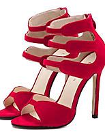 Women's Shoes Fleece Summer Heels Party & Evening Stiletto Heel Zipper Black / Red