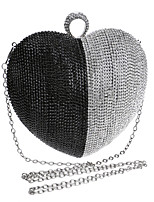 Women Evening Bag Polyester All Seasons Wedding Event/Party Formal Heart Shaped Rhinestone Clasp Lock Silver Black