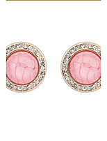 Top Fashion White Rhinestone Round Circle Colorful Stone Gold Alloy Pierced Stud Earrings for Women Retro Earring