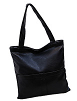 Women PU Shopper Shoulder Bag-Black