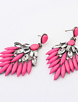Bohemia Style Retro Shinning Fuchsia and Blue Statement Drop Earrings for Vintage Women
