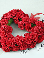 Small Size Silk Roses Heart-Shaped Garland Artificial Flowers Multicolor Optional 1pc/set