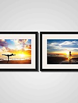 Framed Woman Doing Yoga on Beach Modern Canvas Print Art Set of 2 for Home Decoration Ready To Hang