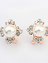 Korean Fashion Four Leaf Flower Clover Bright Simulated Pearl Alloy Earrings Women Wonderful Rhinestone Jewelry