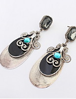 Fashion Water Shaped Dangle Drop Earrings Simulated Gemstone Green and Black Earrings for Vintage Women