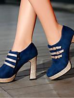 Calçados Femininos-Saltos-Saltos / Plataforma-Salto Grosso-Preto / Azul / Marrom-Courino-Escritório & Trabalho / Social / Casual