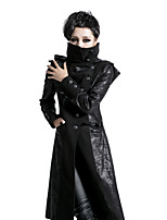 Y-420 punk black skinny vintage woman long coat with hooded