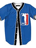 Print-Informeel / Werk / Formeel / Sport-Heren-Polyester-T-shirt-Korte mouw Blauw