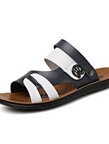 Sapatos Masculinos-Sandálias / Deslizante-Marrom / Branco-Courino-Ar-Livre / Casual / Para Esporte