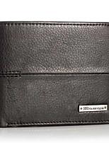 New Men's Women Genuine Leather Bi-Fold Wallet Black