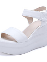 Women's Shoes Leatherette Wedge Heel Wedges Sandals Wedding / Party & Evening / Dress / Casual Black / Pink