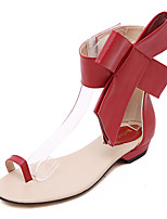 Women's Shoes Leatherette Flat Heel Mary Jane / Open Toe Sandals / Flats Casual Black / Red / Almond