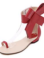 Chaussures Femme-Décontracté-Noir / Rouge / Amande-Talon Plat-Baby / Bout Ouvert-Sandales / Plates-Similicuir