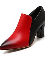 Scarpe Donna-Scarpe col tacco-Matrimonio / Tempo libero / Formale-Tacchi / A punta-Quadrato-Finta pelle-Nero / Rosso