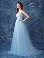 Formal Evening Dress A-line V-neck Sweep / Brush Train Tulle with Appliques / Sequins