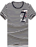 Men's Personality Fashion Striped Print Round Collar Slim Fit Short Sleeve T-Shirt, Cotton/Casual / Plus Sizes