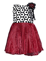 Girl's Dress,Polyester Fall / Spring Black / Red