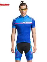 Shorts / Jersey(Vermelho / Azul) - deCiclismo-Homens-Respirável / Secagem Rápida / wicking / Tapete 3D / Tiras Refletoras / Bolso