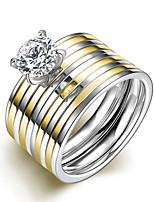 2016 Luxury Zircon Double Stripe Titanium Steel Wedding Couple Ring
