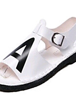 Women's Shoes PU Low Heel Open Toe Sandals Outdoor / Dress / Casual Black / White