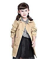 Girl's Beige Trench Coat Cotton Spring