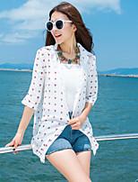 Women's Beach Boho / Street chic Summer Shirt,Print Shirt Collar ½ Length Sleeve White Rayon / Polyester Thin