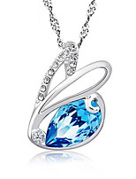 925 Sterling Silver Chain Cute Zircon Rabbit Pendant Charm Bunny Necklace Blue Rhinestone Elegant Women Colorful Jewelry